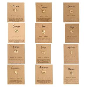 Hot 12 zodiac collares con tarjeta de regalo constelación signo colgante cadenas de oro collar para hombres mujeres joyería de moda a granel
