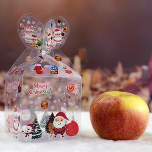 Many Styles PVC Transparent Candy Box Christmas Decoration Gift Box and Packaging Santa Claus Snowman Elk Reindeer Candy Apple Boxes LX2353