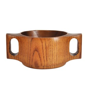 Japanese Style Hand-made Wood Bowl Double Handle Children's Wooden Bowl Wooden Rice Bowl Practice Wooden Bowls LX2863
