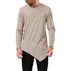 T-shirt Mens Designer maglietta irregolare degli uomini brandnew Autumn Spring Fashion O-collo T delle parti superiori a maniche lunghe di base