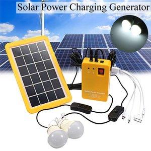 شاحن 3W لوحة للطاقة الشمسية في حالات الطوارئ الخفيفة كيت الشمسية مولد 4 رؤساء USB كيبل مع 2 لمبة LED ضوء للتخييم في الهواء الطلق