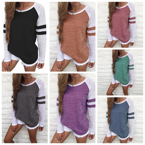 Women Striped Splicing Baseball T-Shirt Spring Fashion O Neck Long Sleeve Top Tee All Matched T Shirt Maternity Tops CCA11823-A 10pcs