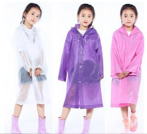 키즈 후드 레인 코트 Chlidren 비 일회용 투명 레인 코트 소녀 소년 무릎 길이의 재킷 비옷 야외 판쵸 비옷 ZYQA401