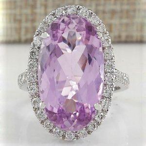 2019 Best Selling europäischen Charm Intarsien lila Kristall Zircon Ring Mode-Ei-Form-Hochzeit Verlobungsringe für Frauen-Schmucksachen