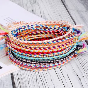 Kadınlar Erkekler El yapımı Püskül Knots Konu Halat Bilezik EthnicTibetan Dize Bilezikler Takı Şanslı Vsco Dokuma Bilezik
