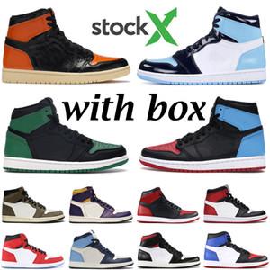2020 Hot estoque jumpman basquete masculino 1s sapatos UNC verde pinheiro Satin Black Toe sem medo 1 dos homens do instrutor das sapatilhas mulheres atléticas esportes x