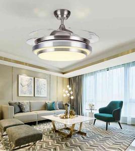 110v / 220v 36inch 42inch Plafond blanc moderne Salon Fumées Lumière Équipement acrylique Feuille Led Ventilateur au plafond Lumière Kit avec LLFA Télécommande