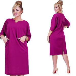 Plus Size Frauen-verursachender loses Kleid Sommer Frühling O-Ansatz Big Size Kleidung für Frauen Kleider