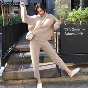 Mozuleva beiläufige Strickjacke Hose Gestrickte 2 Stück Set Rollkragen Pullover elastische Taillen-Hosen-Frauen-Strickjacke-Set 2019 Herbst-Sets