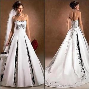 2020 neue schwarze und weiße Brautkleider Strapless Stickerei A lineschleifezug Backless Kirche Hochzeit Brautkleider nach Maß BC3487