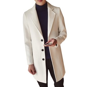 남자 솔리드 컬러 울 코트 영국 중형 롱 코트 자켓 슬림 피트 남성 가을 겨울 오버 코트 모직 코트 플러스 사이즈 M-5XL
