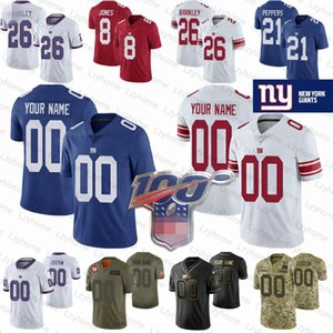 Hommes, Femmes, Enfants sur mesure New York 26 Saquon Barkley NY géant Jersey 21 Jabrill Peppers 8 Daniel Jones 20 Janoris Jenkins Taylor Tate or