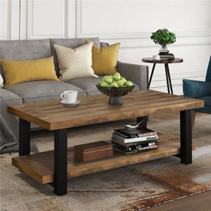 Rápido Coffee Table envio Rustic Natural armazenamento prateleira Sala Fácil montagem Retângulo móveis de sala