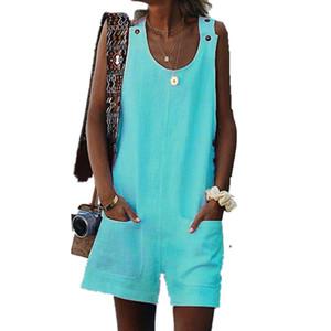 Verão Casual Jumpsuit Para Mulheres Jardineira Harem Shorts Correia soltos Jumpsuits Womens macacãozinho Baggy Trousers Macacões Bodysuit