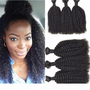 Malaysian Human Hair Bulk 3 Pcs lot Kinky Curly Hair Bulk For Braiding Hair Extensions Natural Color No Attachment FDSHINE