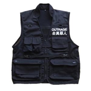 Capa de los hombres sin mangas de la chaqueta informal carácter chino Escudo Calle Chaleco bolsillos de la chaqueta de la cremallera chaleco chalecos de carga militar