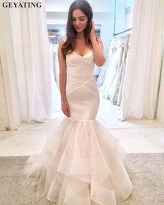 Simple satin robe de mariée sirène 2019 volantée Ivoire Tulle Robes de mariage pas cher Made in China trompette Accueil Robes de mariée