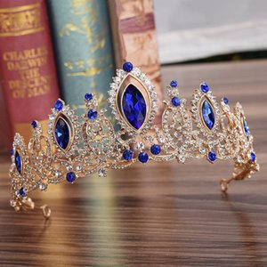KMVEXO Wedding Bridal Red Blue Crystal Tiaras Crowns Princess Pageant Prom Rhinestone Veil Tiara Headband Bride Hair Accessories S919