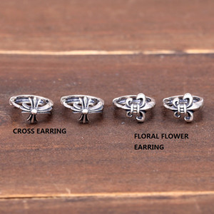 Personalized new 925 sterling silver vintage jewelry American European antique silver hand-made designer punk floral cross earrings