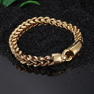 Hiphop Punk Jewelry Gold Color Bracelet Bangle Fashion Vintage Men Curb Chain Party Gift bracelet 21.5cm Length