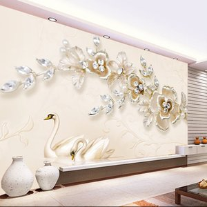 European swan flower wallpaper TV background wall covering jewelry living room film and television wallpapers 3d relief large mural