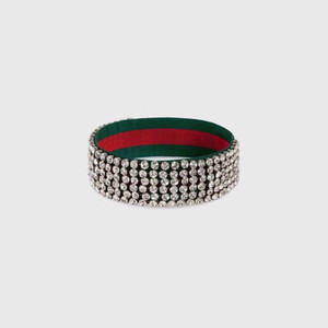 Web ELASTIC bande de cristal piste bandeau Headwrap Strap vert et rouge pave de cristal clair POUVOIR cocktail de mariage de mode Mode