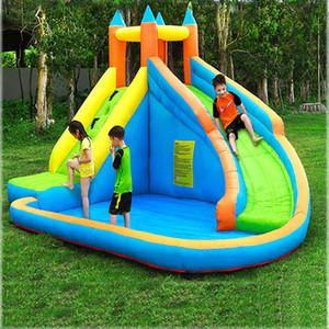 Inflável do salto Water Slide Park Backyard Bouncy Deslize Casa com ventilador de ar para Kids Rock Outdoor Escalada Grande Castelo impertinente