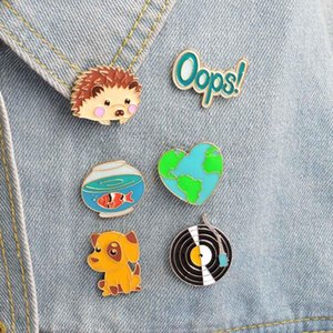 1Pc Cute Hedgehog Dog Record Goldfish Oops Design Metal Brooches Pins Enamel DIY Lovely Cartoon Hats Clips Gift