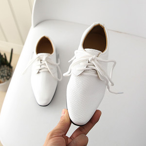 2020 Nice Toddler Little Girl Leather Shoes Formal Boys School Shoes Student Lace Up Evening Party Dresses for Kids Baby D405