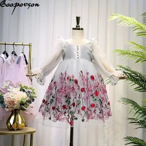 Gooporson с длинным рукавом платье принцессы цветка вышивки шнурка способа маленьких девочек костюм Vestidos тинейджеров партии одежды