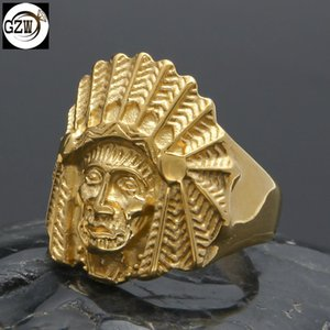 New Fashion Stainless Steel Vintage Big Indian Chief Head Mens Big Finger Band Ring Hip Hop Rock Rapper Jewelry Gifts for Guys Wholesale