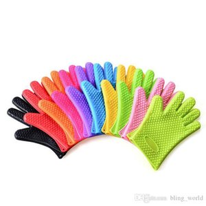 Silicone BBQ Gloves Candy color Anti Slip Heat Resistant Microwave Oven Five Fingers Gloves Eco-Friendly Baking Cooking Kitchen Tool CLS238