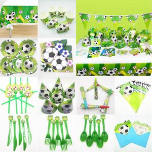 Fußball Party Supplies Fußball Einweggeschirr Bevorzugungen Babyparty Grüne Fußball-Kindergeburtstag-Party-Deko-Set