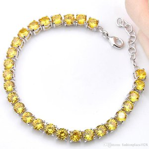 A New Friend Gifts 5mm Yellow Round Brazil Citrine 925 Sterling Silver Plated For Women Zircon Bangle Bracelet 8 &Quot ;Inch Free Shipp