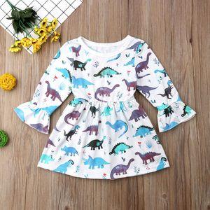 Bébé filles dinosaure fraise lion de mer robe imprimée enfants manches évasées robe de princesse printemps automne Boutique designer vêtements pour enfants B11