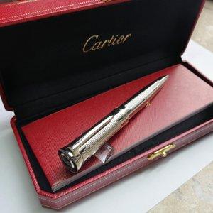 Haute Qualité luxe Pen ssilver verticale Concave Argent Texture métal de transition avec un stylo boîte comme cadeau à bille avec Cat Eye-bijou