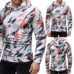Camouflage Hommes sweat à capuche à capuchon Gym Sports Tops Veste Outwear Pull Ceinture Automne Printemps Tissu