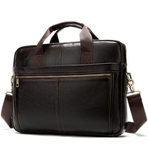 Messenger Çanta Erkekler 'S Deri 14 Inç Laptop Çantası Ofis Evrak Çantası Iş Tote Omuz Erkekler Için Taşınabilir Çanta