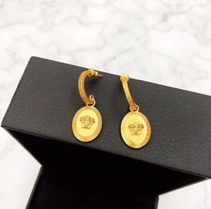Hot vente nouveau portrait de la tête de beauté d'or épaisse boucles d'oreilles électrodéposé de créateurs de mode femme bijoux design de luxe boucles d'oreilles