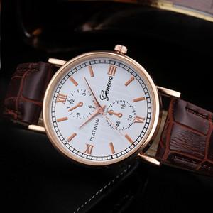 Geneva Men Wrist Watch Retro Design Leather Band Analog Alloy Quartz man watches vintage men wristwatch clock watch male