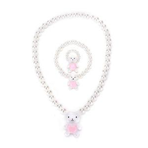 Jewelry Sets White Ring Bracelets For Kids Girls Children Send Randomly Imitation Pearl Beads Bear Rabit Necklace