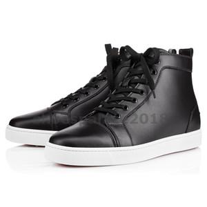 Com Caixa de Sapatos Casuais das Mulheres Preferem Sapatos de Festa de Luxo Spikes Red Inferior Sneaker Flat Mens High Top Lace-up Moda Casamento Preto Chaussures