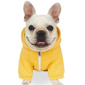 Dog Sweater Pet Clothes Cotton Puppy Winter Sweatshirt Warm Jacket Solid Color Dog Clothing