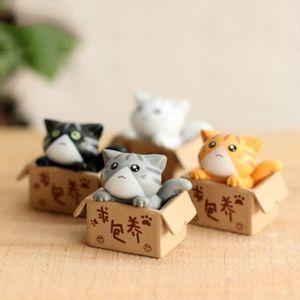 1 шт мультфильм Бедной Box Cat Kitty Kitten Модель статуэтка автомобили Фигурка Ремесло Сад Рисунок Украшение DIY Miniatures
