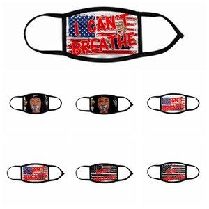 Я НЕ МОГУ ДЫШАТЬ Маски Black Lives Matter Face Mask George Floyd взрослых Детские Маски моющийся многоразовый Trump Флаг США Face Mask Designer RRA3143