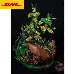 60CM SHK Anime Dragon Ball Statue Cell Lifetime Bust With LED Light Full-Length Portrait Original Version GK Action Figure Toy BOX X560