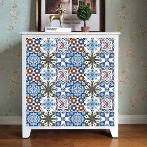 6pcs / set Thicken Tiles Wall Sticker Home Decor brilhar decalques parede acabada Peel and Stick Azulejo para Cozinha Casa de Banho PVC Mural Art