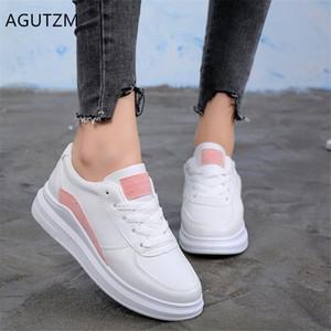 AGUTZM Женщина обувь Весна Новые клинья Белые туфли удобные кроссовки тенис Feminino моды шнуровке женщина случайные Q969
