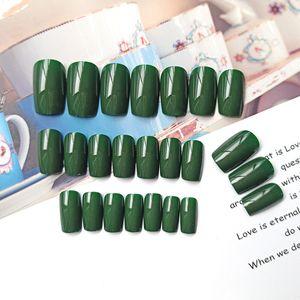 24pcs box Fake Nail Artificial Press on Long Ballerina Green Frosting Mirror False Coffin Nails Art Tips Full Cover Jewelry Box