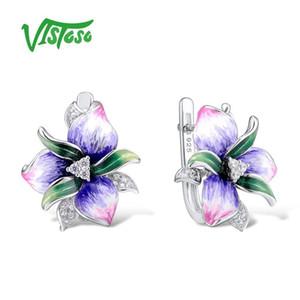 Vistoso Gümüş Küpe Bayan Rosa Çiçek Chic Küpe Düğün Aksesuarları Için 925 Ayar Gümüş Asil Takı El Yapımı E-posta Y19070902